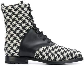Manolo Blahnik houndstooth pattern boots