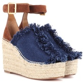 Chloé Suede And Denim Wedge Espadrilles
