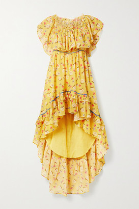 LoveShackFancy Alexia Ruffled Tiered Floral-print Cotton-voile Dress - Yellow