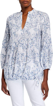 120% Lino Etched Indigo Floral Print Pintucked Poet Shirt