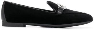 Salvatore Ferragamo Crystal Embellished Logo Loafers