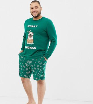 Asos DESIGN Plus Holidays short pyjama set with festive pug design