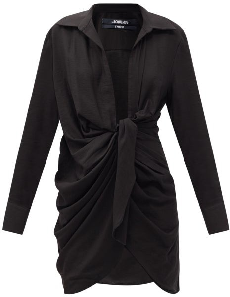 Jacquemus Bahia Knotted Crepe Shirt Dress - Black
