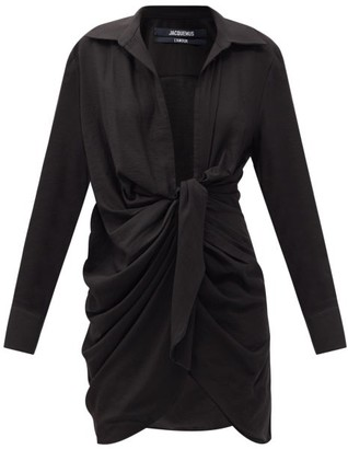 Jacquemus Bahia Knotted Crepe Shirt Dress - Black