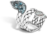 John Hardy Cobra Coil Ring with Black Chalcedony and Diamonds
