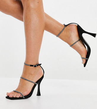 ASOS DESIGN Wide Fit Negotiate barely there rhinestone high-heeled sandals in black