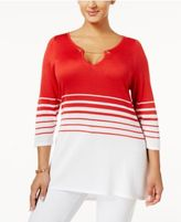 Belldini Plus Size Striped Chain-Link Sweater