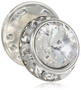 Stacy Adams Men's Silver Rondell Tie Tac With Clear Crystals