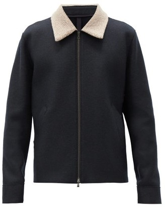 Harris Wharf London Fleece-collar Felted-wool Jacket - Navy