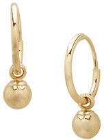Lord & Taylor 14K Yellow Gold Ball Hoop Earrings