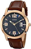 GUESS Men's Stainless Steel Leather Watch