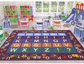 """Ottomanson Jenny Collection Frame with Multi Colors Kids Children's Educational Alphabet (Non-Slip) Area Rug, 5'0"""" X 6'6"""", Red"""