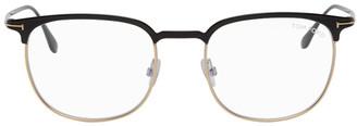 Tom Ford Black and Gold Blue Block Half-Rim Glasses