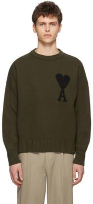 Ami Alexandre Mattiussi Green Ami De Coeur Sweater