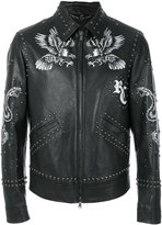 Roberto Cavalli printed studded jacket - men - Cotton/Leather/Cupro/Viscose - 52