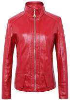 DOOXIYOUNG Women's Faux Leather Bomber Jean Moto Rider Jackets (XL, )
