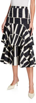 Johanna Ortiz Vanguard Cotton Midi Skirt