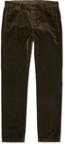 Massimo Alba Winch Slim-fit Cotton-velvet Trousers - Green