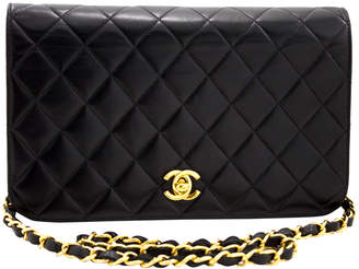 Chanel Black Quilted Lambskin Leather Chain Clutch Shoulder Bag