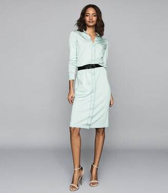 Reiss Lettie - Knitted Midi Dress in Pale Blue
