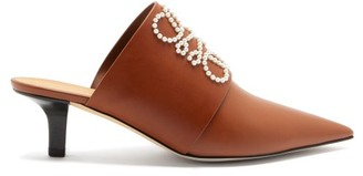 Loewe Point-toe Pearl-anagram Leather Mules - Tan