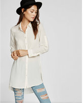 Express extreme slit long sleeve tunic shirt