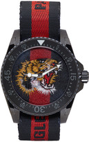 Gucci Navy and Red Web Tiger Dive Watch
