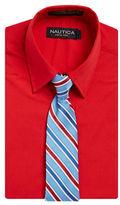 Nautica BOYS 8-20 Dress Shirt and Patterned Tie Set