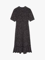 Warehouse Polka Dot Lace Trim Dress, Black