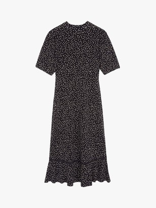 Warehouse Polka Dot Lace Trim Dress, Black