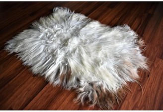 "Carvajal Animal Print Handmade 1'10"" x 2'10"" Sheepskin Cream/Brown Indoor / Outdoor Area Rug Millwood Pines"