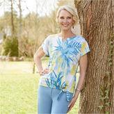 Alfred Dunner Blue Lagoon Short Sleeve V Neck Floral T-Shirt-Womens
