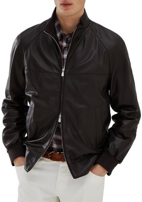 Brunello Cucinelli Light Leather Bomber Jacket