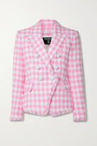 Thumbnail for your product : Balmain Frayed Checked Cotton-blend Tweed Blazer - Pink