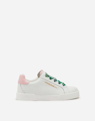 Dolce & Gabbana Portofino Light Sneakers In Nappa Leather With Jungle Laces