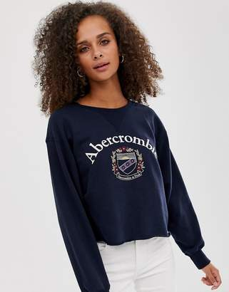 Abercrombie & Fitch cropped sweatshirt with crest logo-Navy