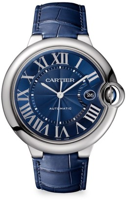 Cartier Ballon Bleu de Stainless Steel & Blue Alligator-Strap Watch