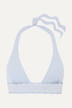 Heidi Klein Cassis Smocked Halterneck Bikini Top - Light blue