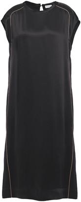 Brunello Cucinelli Bead-embellished Satin Midi Dress