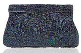 Nina Beaded Swirl Beaded-Satin Clappe Pouch