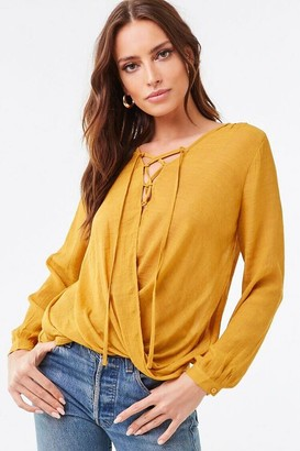 Forever 21 Sheer Surplice High-Low Top