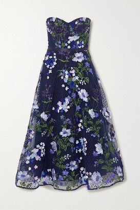 Marchesa Strapless Appliqued Embroidered Tulle Gown - Navy