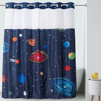 Hookless Outer Space Print Shower Curtain & PEVA Liner