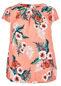 Dorothy Perkins Womens **Billie & Blossom Curve Coral Tropical Print Shell Top, Coral
