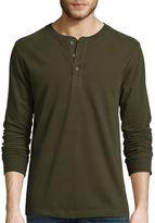 ST. JOHN'S BAY St. John's Bay Long-Sleeve Sueded Jersey Henley Shirt