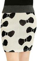 uxcell Women Elegant Allover Bowknot Print Over Hip Design Mini Skirt