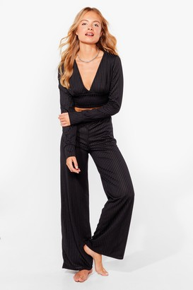 Nasty Gal Womens Time to Chill Ribbed Wide-Leg Lounge Set - Black - S/M