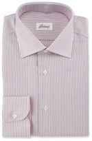 Brioni Textured-Stripe Dress Shirt, Red/White