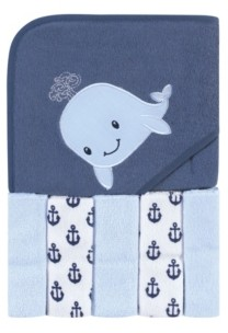 Hudson Baby Baby Boys and Girls 6 Piece Hooded Towel and Washcloths