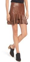 Soprano Women's Ruffle Hem Faux Leather Skirt